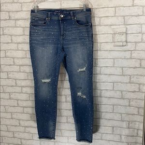 INC skinny leg rhinestone jeans size 14